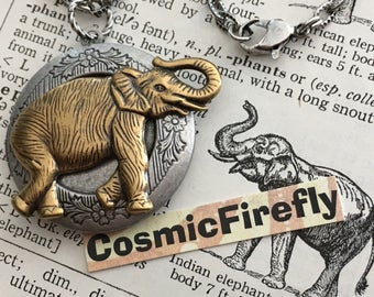 Elephant Locket Necklace Silver Locket Brass Elephant Necklace Good Luck Trunk Up Cosmic Firefly Handcrafted Locket