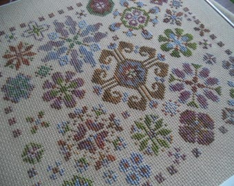 The Garden Blooms, Cross Stitch Sampler PDF Download, Carolyn Manning Designs