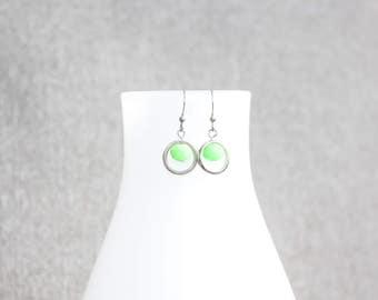 bijoux mode, Boucle d'oreille, bijoux fantaisie, cadeau pour elle, st valentin, vert, courte, short, funky, rond, silver, argent, earrings