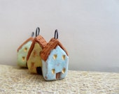 Artisan made ceramic charms - Tiny Houses - set of 3