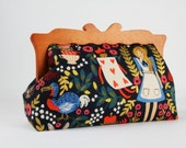 Clutch purse with wooden frame - Alice in Wonderland - Home purse / Cotton and Steel / Rifle Paper Co / Navy blue metallic gold / red pink