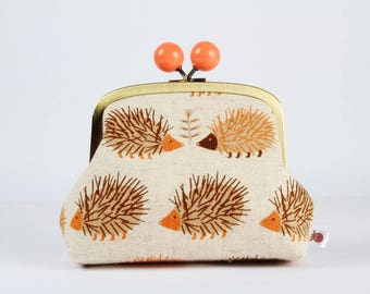 Metal frame clutch bag - Big hedgehogs in brown - Color bobble purse / Japanese fabric / rusty orange beige
