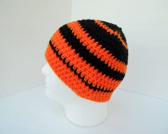 Summer CLEARANCE EVENT Men Sports Beanie, Bright Orange and Black Stripe, US Shipping Included, Ready to Ship