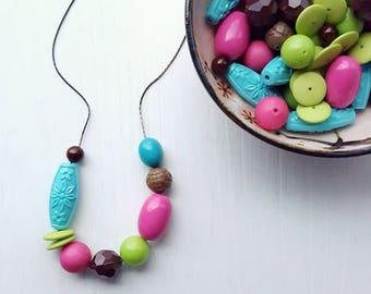 swizzle stick necklace - vintage lucite - neon colors aqua pink - bright summer beads