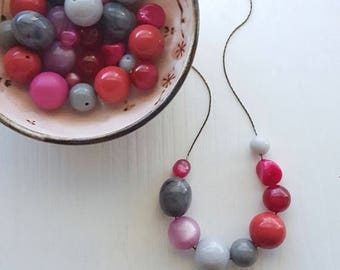 NECKLACE CLEARANCE plum duff - necklace - remixed vintage lucite - pink and grey necklace