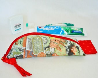 Toothbrush Kit, Toothbrush Pouch, Multi Purpose Case, Travel Pouch, Toothbrush Storage, Zippered, Transport Toothpaste,travel fabric,,gift