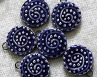 Blue Dot Swirl Design Tile Charms (2 pc.)