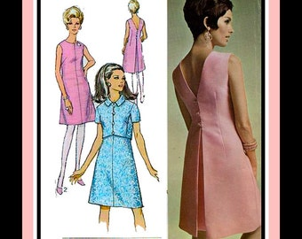 Vintage 1967-EURO COUTURE MOD-Sewing Pattern-A-Line Dress-V Back Dress-Inverted Back Pleat-Cropped Shortie Jacket-Short Sleeves-Size 16-Rare