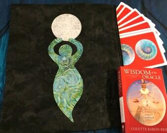 Full Moon Green Ocean Spiral Goddess Quilted Magic Bag Pouch Tarot Runes Crystal