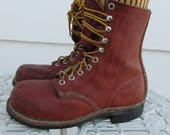 Vintage Red Wing Leather Lace Up Work Boots  Steel Toe Size 5