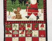 Cyber Monday Sale Advent Calendar Quilted, Woodland Advent Calendar, Santa Advent Calendar Wall Hanging, Christmas Countdown Calendar