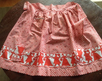 Vintage hostess half apron, red and white check, chef/cook cut outs, rickrack pocket