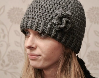 Womens Dark Grey Crochet Beanie Hat or Mens Plain Beanie Hat