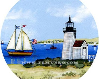 Sailors Valentine Center, ART for Designers Crafters ~ Brant Point Light, Nantucket ~ JL. Munro