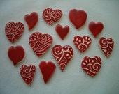 14RH - FANCY Red HEARTS - Ceramic Mosaic Tiles
