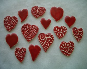 14RH - FANCY Red HEARTS - Ceramic Mosaic Tiles