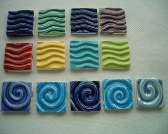 13W - WATER WAVES, Swirls Squares - Ceramic Mosaic Tiles
