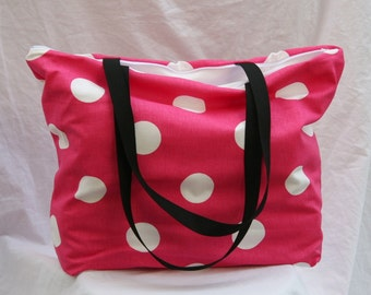 Ready To Ship -Oxygen Dots n Candy Pink -Zippered Beach Tote- Overnight Bag- 2- Interior Pockets Water and Mildew Resistant Interior