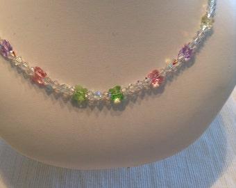 Multi Colored Swarovski Butterfly Necklace