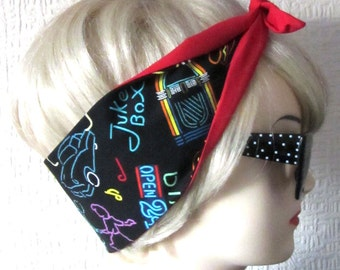 Diner Hair Tie Rockabilly Scarf Wrap by Dolly Cool Neon Sign Retro Jukebox Record Hop 50s