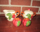 Vintage 1950s Franciscan Pottery APPLE Lot Covered Sugar with Creamer and S&P Shakers Set PERFECT
