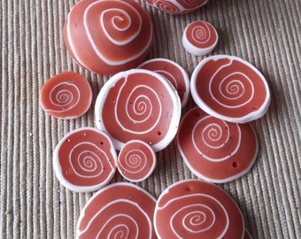 Polymer Clay Cappuccino beads, cabochon, stud earrings dot and lentils, raw bead, scrap beads
