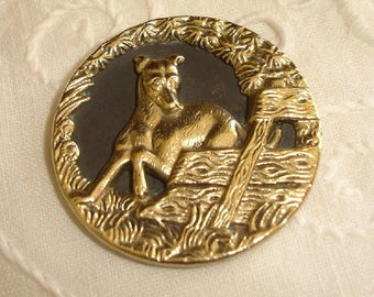Large Old Picture Brass Button with Dog - Whippet Dog Button - really pretty border interrupted of a Fence