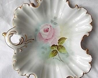 Vintage Porcelain Fancy Dish Hand Painted Pink Rose Artist Signed E. Stephens