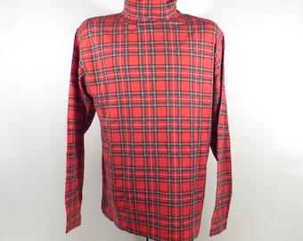 Ugly Christmas Sweater Vintage 1980s Shirt Turtleneck Tacky Holiday Plaid size XL
