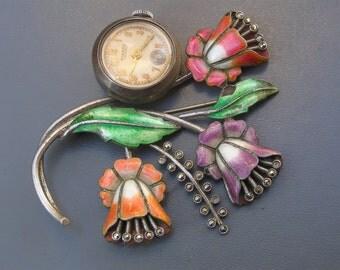 Vintage Art Deco Pin . Brooch . Watch . guilloche enamel Jewelry