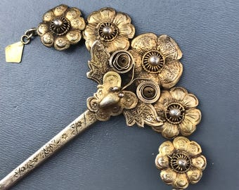 Antique Sumatra  Starit Chinese Hair Pin . Minangkabau Sumatra . Gold Silver Jewelry