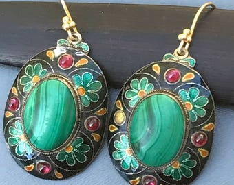 Vintage Chinese dangle Earrings  .  Gold Gilt Silver . Enamel . Malachite . Chinese  Jewelry