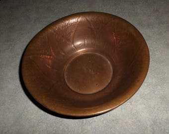 signed hand wrought solid COPPER BOWL hand finish earthy mountain Arts & Crafts design