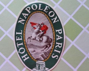 Hotel Napoleon Paris Vintage Luggage Label UNUSED