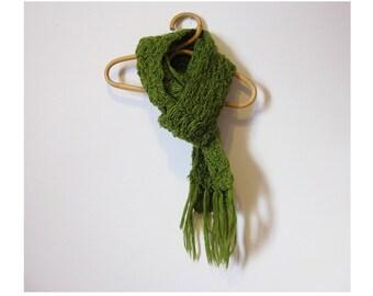 Vintage crochet scarf - aparagus green neckwarmer -  boho hippie grunge HIPSTER statement scarf - LONG winter wrap around scarf - gift ideas