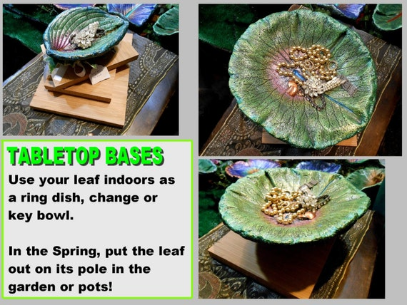 TABLETOP BASE (Small Leaf) - Ring, Change or Key Bowl in Winter and Concrete leaf Birdbath (on a pole) in Spring