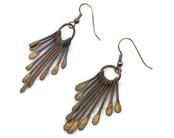 Boho Earrings, Metal, Spiked, Fringed, Vintage Earrings, 1980s, 80s, Pierced, Dangle, Vintage Jewelry, Bohemian, Rustic, Retro, Copper