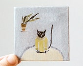 sweater cat / cat art, original small painting