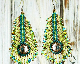 Beaded Peacock Feather Earrings-Crystal Peacock-Swarovski Crystal-Made to Order-Feathers-Statement Jewelry-Bird-