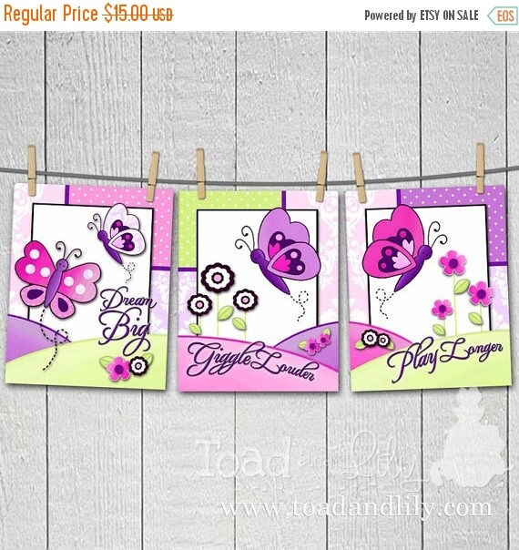 Spring SALE Set of 3 Pretty Purple and Pink Damask Butterfly Girls Bedroom 8x10 Art Prints