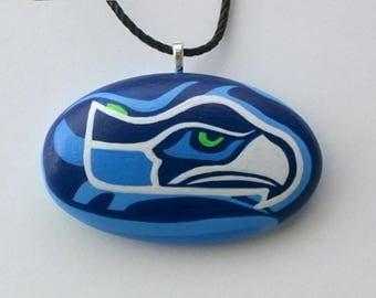 Sea hawks Sports memorabilia-Seattle Seahawks-NFL Football Fan-12th man-sea hawk fan-seattle-pendant necklace-ooak 3D unisex party jewelry