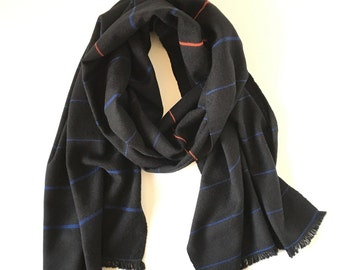 "Cashmere Scarf Handwoven Black with Blue and Orange Lines 20"" x 79"""