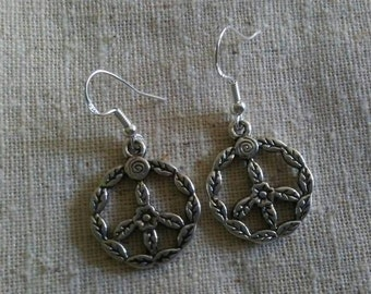 Silver Green Peace earrings