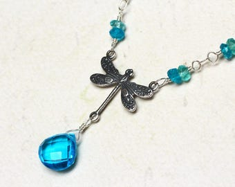 "Swiss Blue Quartz Necklace, Dragonfly Necklace, Gemstones - ""Blue Dragon"" by CircesHouse on Etsy"