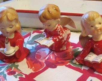 Set of 3 Beautiful Vintage Shabby Red Porcelain Christmas Angels Japan