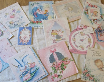 Lot of 13 Used Vintage Baby Cards with Beautiful Graphics