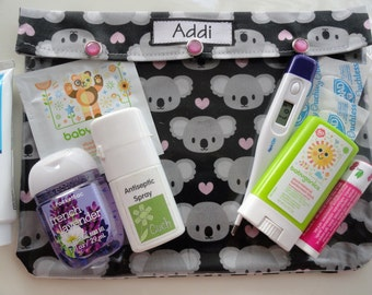 Personalized Koala Clear Front Pouch Baby Gift Diaper Bag Insert Medications First Aid Toiletries Stroller Organizer Ouch Pouch XL 7x9