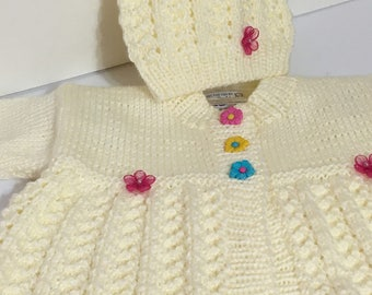 READY TO SHIP      Handmade Knit Matinee Baby Coat and Hat/Baby Girls/Antique White/Acrylic               Size 3 to 6 months