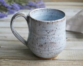 White Speckled Stoneware Mug Rustic Pottery Cup Ready to Ship Made in USA
