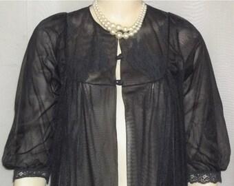 SWEETHEART SALE Vintage Double Nylon Chiffon Black Long Robe Peignoir Medium